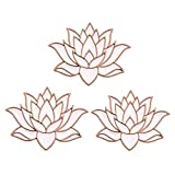 SENFAI 10K Gold Color Cute White Enamel Lotus Pin and Brooch(3pack Rose Gold)