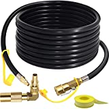 24FT Quick-Connect RV Propane Hose with 1/4' Safety Shutoff Valve and 1/4' Male Full Flow Plug, Low Pressure Quick Disconnect Propane Hose with Elbow Adapter for 17' and 22' Blackstone Griddles