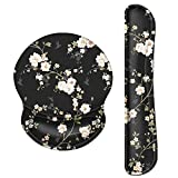 Ergonomic Wrist Rest Support Set,Sumplee Memory Foam Keyboard Wrist Pad and Gel Mouse Pad with Non-Slip PU Base for Computer, Laptop, Easy Typing & Pain Relief (Flower-White)