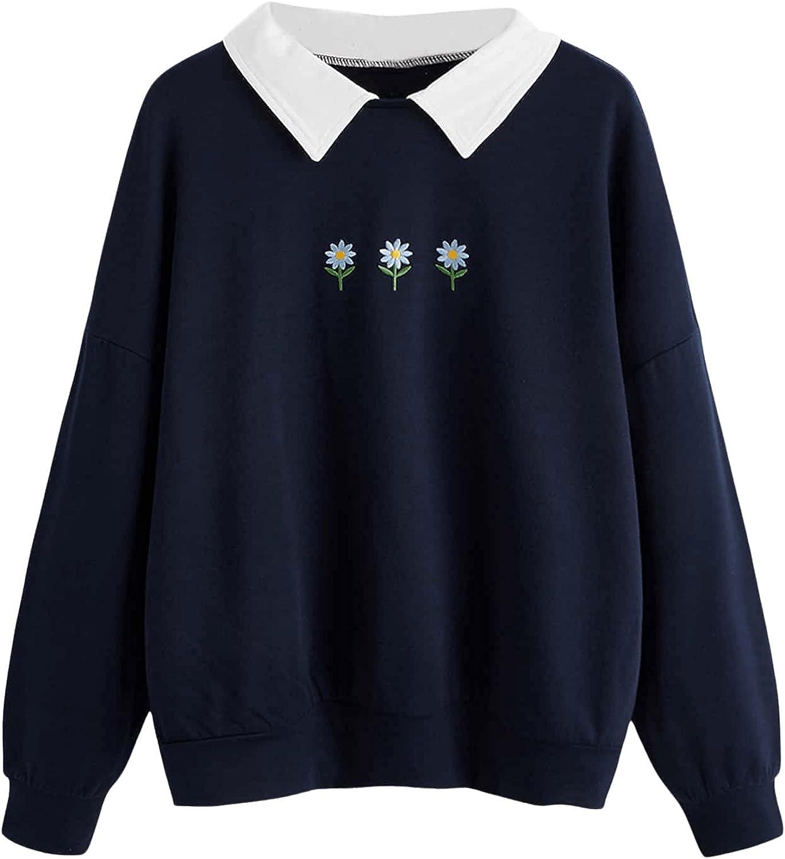 SweatyRocks Women's Contrast Peter Pan Collar Long Sleeve Casual Pullover Sweatshirt Tops