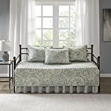 Comfort Spaces Kashmir 5 Piece Quilt Daybed Ultra Soft Hypoallergenic Microfiber All Season Paisley Print Bedding Sets, 75'x39', Blue