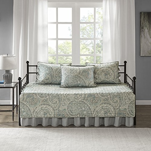 Comfort Spaces Twin Daybed Bedding Sets - Kashmir 5 Pieces All Season Daybed Cover Quilt Set - Soft Microfiber Blue Paisley Printed with Solid Grey Reverse