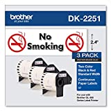 """Brother Genuine DK-22513PK Continuous Length Replacement Labels, Black/Red Label on White Paper Tape, Engineered with Excellence, 2.4"""" x 50 feet, (3) Rolls per Box (DK22513PK)"""