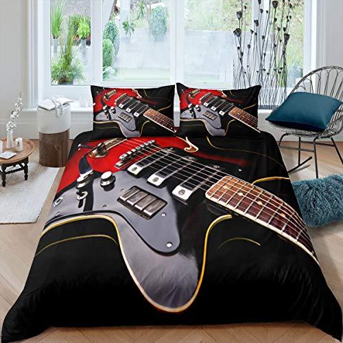 Loussiesd Gitarre Bettbezug Set Jungen Schwarz Coole Musikthema Bettwäsche für Kinder Jugendliche Dekor 2 Stück Bettwäsche Set 135x200cm mit Reißverschluss Musik Gitarre Drucken