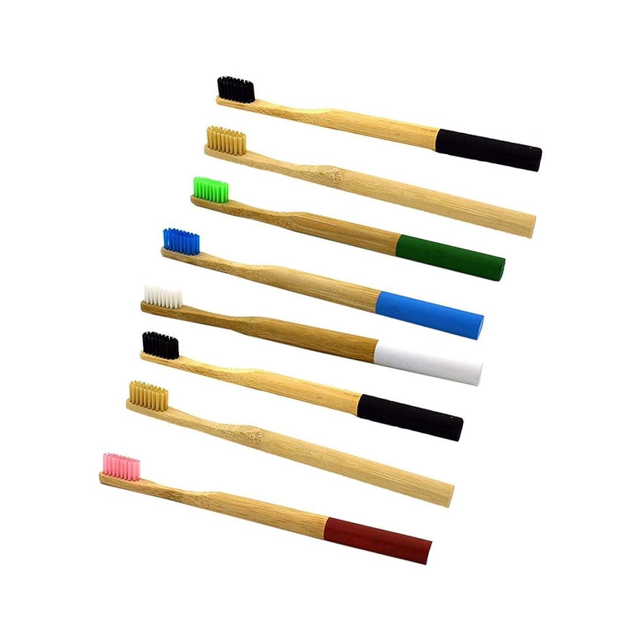 官僚シンク悪意Healifty 竹製歯ブラシ丸型ハンドル歯ブラシ8本(混色)