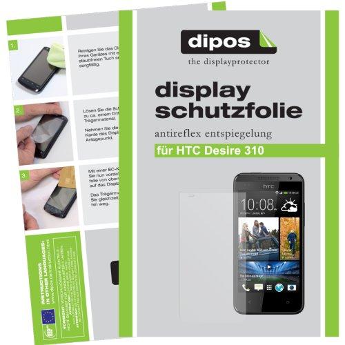 dipos I 2X Schutzfolie matt kompatibel mit HTC Desire 310 Folie Bildschirmschutzfolie