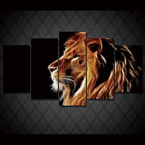 GHYTR Impresión En Lienzo 5 Piezas Cuadro sobre Lienzo León De Fuego Imágenes XXL 150X80Cm Oficina Sala De Estar O Dormitorio Decoración del Hogar Arte De Pared