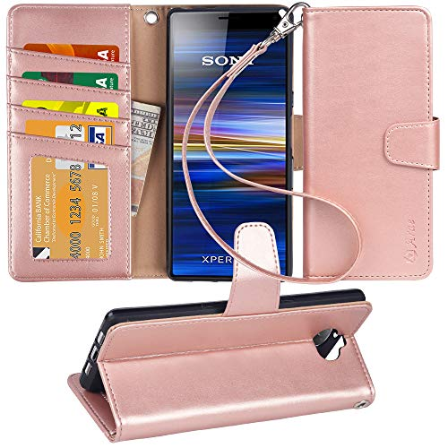 Arae Sony Xperia 10 Hülle, Handyhülle Sony Xperia 10 Tasche Leder Flip Cover Brieftasche Etui Schutzhülle für Sony Xperia 10 - Roségold