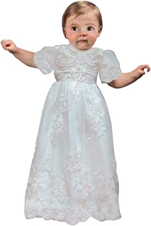 Baby-Girls Lace Christening Gowns Round Neck Rhinestone Toddler Baptism Dress