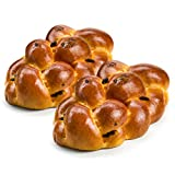 Stern's Bakery Kosher Fresh Raisin Challah Bread 16 Ounce - Traditional Raisin Bread for your Holiday or Shabbat Table ( 2 Braided Raisin Challah Per Pack ) (Braided Raisin Bread)