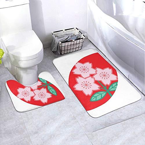 Komorebi12 2-delige zachte anti-slip badmatset, rugby Japan, inclusief 90 x 60 cm hoog absorberend toiletbril en 50 x 40 cm microvezel zacht pluizig badtapijt, antislip mat wasbaar.