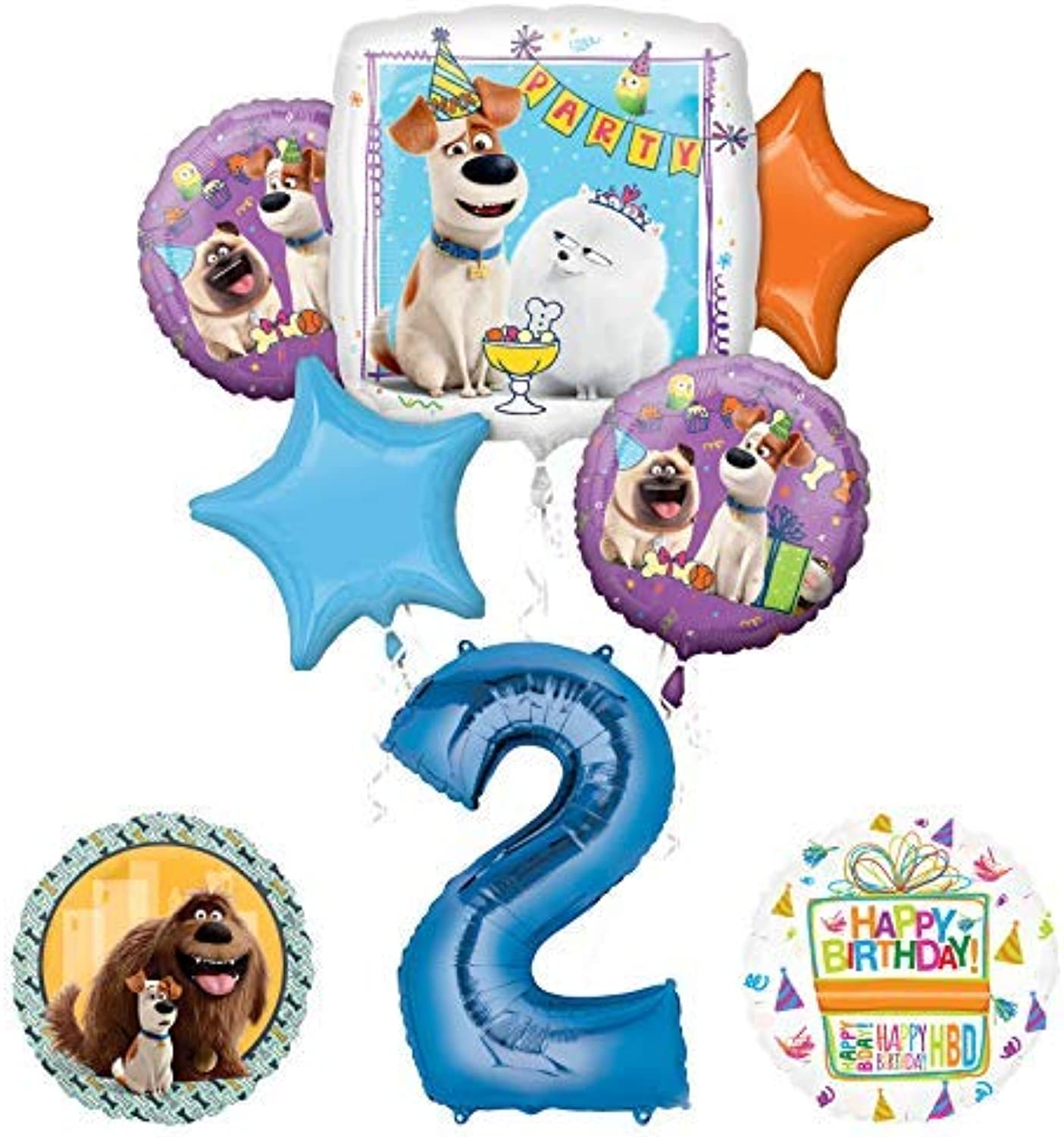Mayflower Products Secret Life of Pets Party Supplies 2nd Birthday Balloon Bouquet Decorations  bluee Number 2