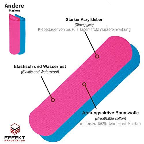 Effekt Manufaktur Kinesiologie Tape in verschiedenen Farben (5m x 5cm) – Kinesiotapes wasserfest und elastisch Sport – Physiotape Kinesiotape Set Sporttape – Tape Kinesio (Hellblau + Pink, 2er Set) - 2