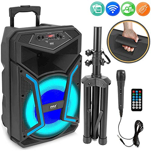 Pyle System-800W Outdoor Bluetooth Speaker Portable PA System w/Microphone in, Party Lights, MP3/USB SD Card Reader, FM Radio, Rolling Wheels-Mic, Remote (PPHP122SM)