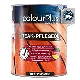 colourPlus® Aceite de teca para madera (1 litro, teca) aceite teca para madera exterior - aceite protector de madera - aceite de madera para interior - protector de madera para exterior