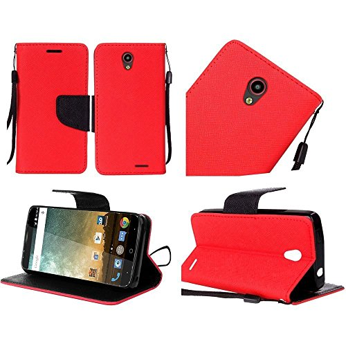 Luckiefind Case Compatible with Kyocera Hydro Wave C6740 / Air C6745, Premium Credit Card Slot Flip Wallet Cover Case (Wallet Red)