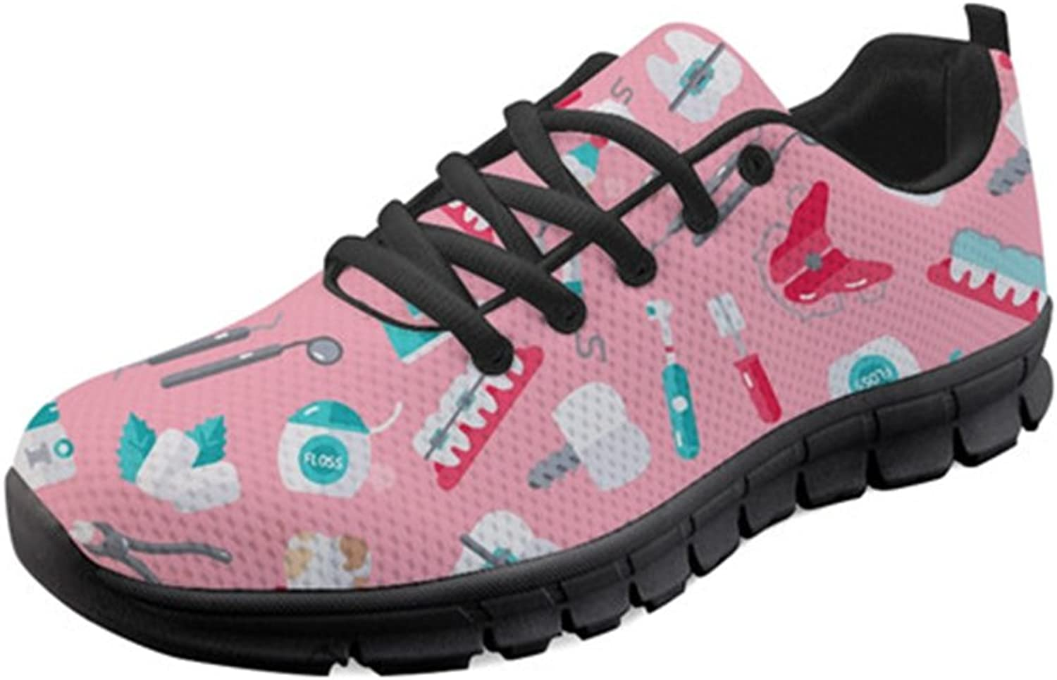 Sannovo Cute Dentist Print Women Running Sneaker Girl Flat Lace-up Walking shoes