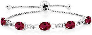 925 Sterling Silver Created Ruby and Diamond Women's Tennis Bracelet (4.50 Cttw, Adjustable up to 9 inches)