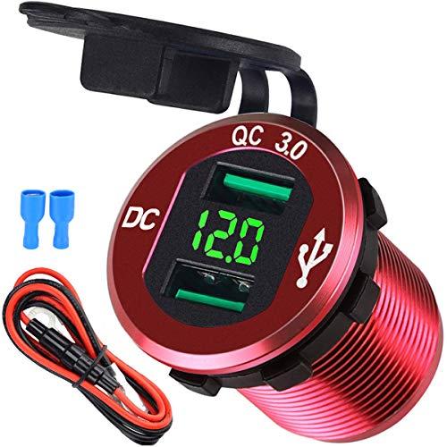 USB Auto Steckdose Schnelle Ladung Dual Auto Ladegerät 12V/24V 36W USB KFZ Ladegerät QC 3.0 wasserdichte Universalität Auto Zigarettenanzünder Adapter für Motorrad, Wohnwagen, Boot,LKW