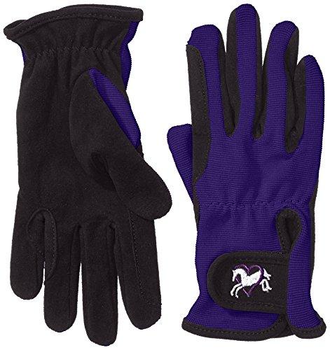 Riders Trend Damen Reiter Handschuhe Reithandschuhe Amara Palm mit Elastan-Material Atmungsaktiv, Black/Purple, S