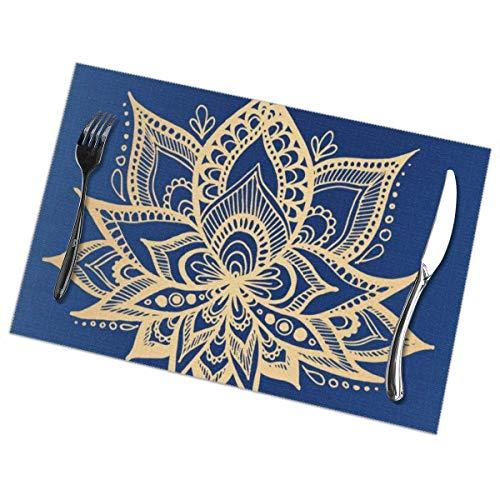 Mesllings Juego de 6 manteles individuales con diseño de mandala de loto dorado y azul, resistentes al calor