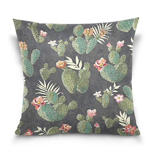 KENDIA Funda de Almohada Decorativa Funda de cojín Funda de Almohada Cuadrada, Funda de Almohada de Verano Vintage Cactus Funda con Lados Gemelos (18 Pulgadas)