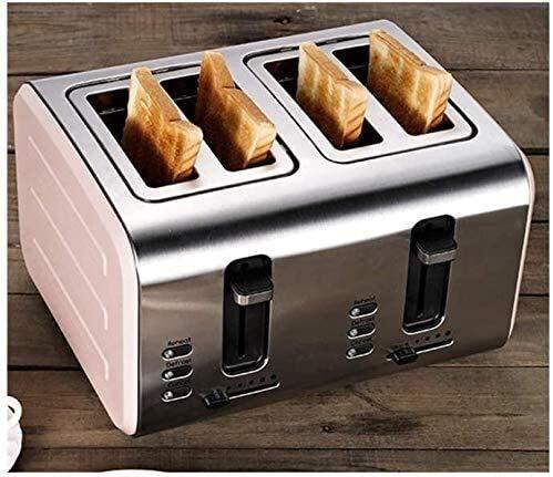 4 piezas Tostadora, acero inoxidable Tostadora completamente automática de 4 piezas del hogar con ranura ancha desayuno Máquina bandeja de migas desmontable, leilims Rosa (Color: Verde) RVTYR