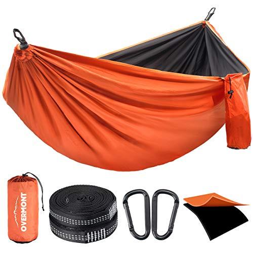 Overmont Hamac Jardin Exterieur Voyage Ultra-léger Double Couche Durable en Parachute Nylon Max Payload 400KG|270x140cm |2 Mousquetons|2 Sangles|Hamac de Camping Randonnée Trekking