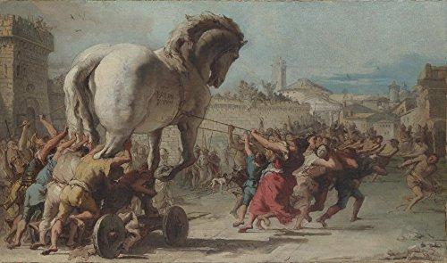 Het Museum Outlet - Giovanni Domenico Tiepolo - De processie van het Trojaanse paard in Troy, Stretched Canvas Gallery verpakt. 20 x 28 cm.
