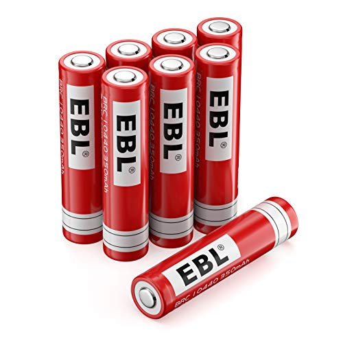 EBL 10440 Li-ion Rechargeable Batteries (Same Size as AAA Cell) 3.7V 350mAh for LED Flashlight Torch, 8 Pack