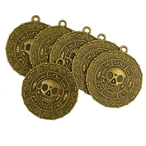 6x Punk Halloween Piraten Medaille Medaillon Schädel Halskette Anhänger in Bronze