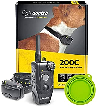 Dogtra E-Collar 200C / 202C Dog Training Collar System with Remote – 1/2 Mile Range 1-2 Dog System - Rechargeable Waterproof Ergonomic - Includes eOutletdeals Pet Travel Bowl  1 Dog System - 200C