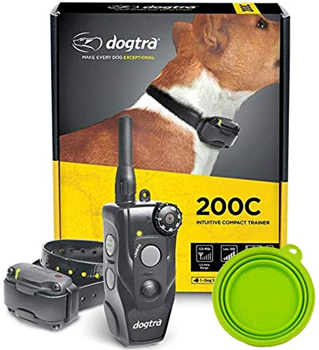 Dogtra E-Collar 200C / 202C Dog Training Collar System with Remote – 1/2 Mile Range, 1-2 Dog System - Rechargeable, Waterproof, Ergonomic - Includes eOutletdeals Pet Travel Bowl (1 Dog System - 200C)