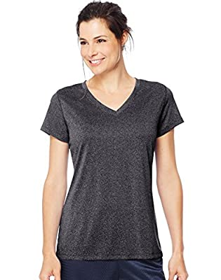 Hanes Women's Sport Performance V-Neck Tee, Ebony Heather, X-Large