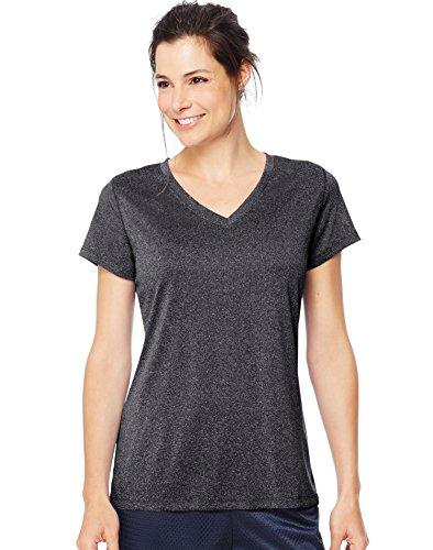 Hanes Women's Sport Performance V-Neck Tee, Ebony Heather, Large