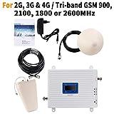 EMEBAY - Amplificadores de Señal Móvil Tri-Banda Repetidor 2G 900MHz 2100MHz LTE 1800MHz para Obtenga Llamadas Señal 3G y 4G en Su Casa/Oficina(900/2100/1800/MHz)