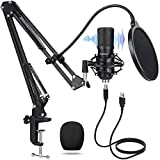 USB Streaming Mic kit for Podcast Recording MANLI Professional Studio Condenser Microphone with Pop Filter/Scissor Mic Arm Stand/Shock Mount for Computer PC PS4 Gaming Black