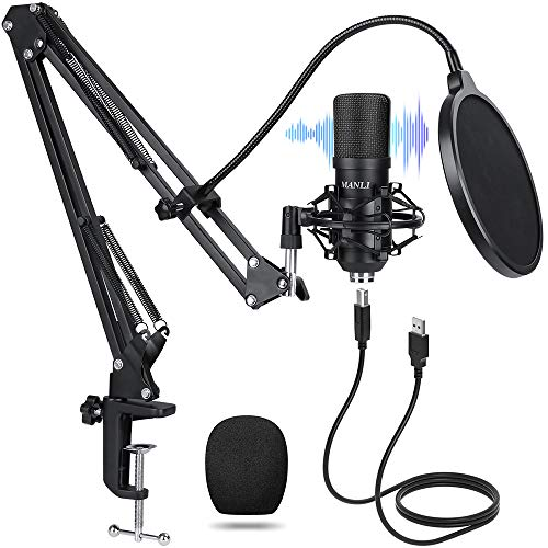 USB Streaming Mic kit for Podcast Recording Manli Professional Studio Condenser Microphone with Pop Filter/Scissor Mic Arm Stand/Shock Mount for Computer PC Gaming Black