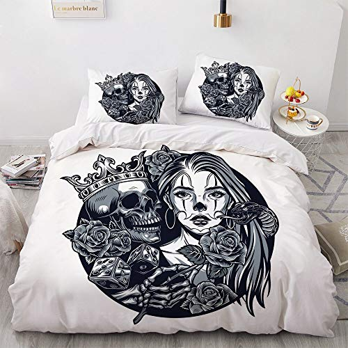 SUNHAON 3d Skull Black Double Bedding Duvet Set, Skin-friendly And Breathable Double Duvet Cover Sets, Beautiful Bedroom Decorations Single set(145×200cm) B