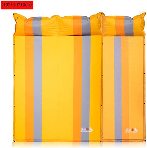 LUCKGXY Camping Tapis Gonflable avec Oreiller, Trois Personnes Tente Sleeping Pad Ultralight Portable air Matelas pour Camping, Voyage, randonnée, Backpacking,jaune