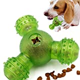 Lmhua Dog Treat Ball Toy, Interactive Dog IQ Puzzle Toy 3 Holes Food Dispensing Pet Toy for Small Medium Dogs Chasing Chewing Training (Green)