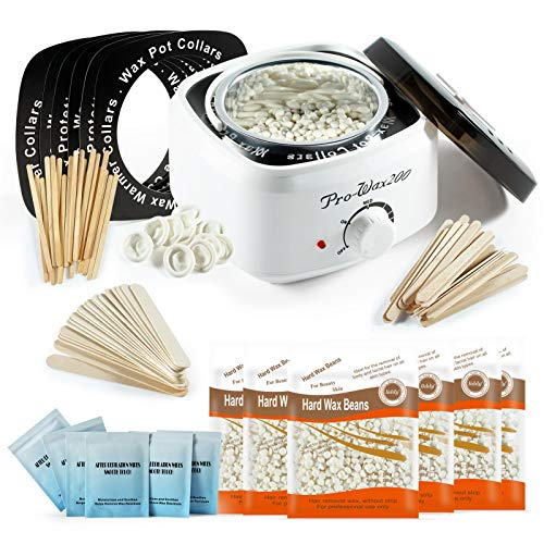 Waxing Kit Wax Warmer for Hair Removal at Home Waxing Kit for Women Include Milk Wax Beans & Waxing Sticks & Wax Warmer Collars