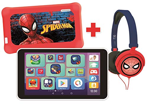 Lexibook – LexiTab Master Bundle Marvel Tablet Kinder 7 Zoll (17,8 cm), Apps, Kindersicherung + Kopfhörer Spider-Man-Android, WLAN, Google Play, MFC149FRZ