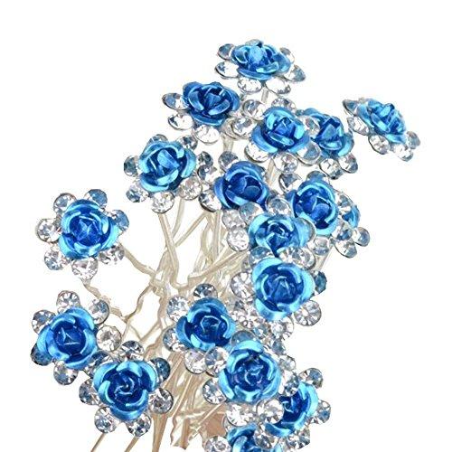 Hustar 20 Stück Damen Strass Haarnadeln Haarklammer Blumen Haar Stifte Braut Haarschmuck Blau