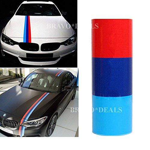 TiTao 2M Streifen M-Colored Flagge Auto Aufkleber Motorhaube Deko Folie Sticker für BMW