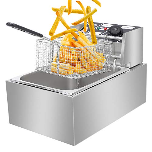 Electric Deep Fryer w/Basket & Lid,Commercial Stainless Steel Deep Fryer,Countertop Kitchen Frying Machine, Stainless Steel French Fryer for Turkey, French Fries, Donuts and More (6L)