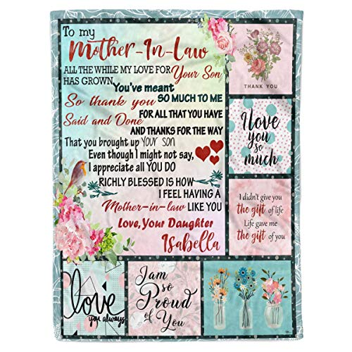 Personalized Custom Daughter Name to My Mother in Law Appreciation Birthday Christmas Fleece Sherpa Blanket Bed Throw Size Tapestry Mother-in-Law from Daughter-in-Law Wall Hanging