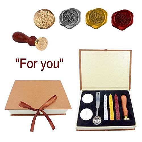 JZK Set de sellos cera: sello + varilla cera + velas + cucharilla + caja de regalo, sellos para Invitaciones de boda navidad cartas tarjeta felicitación