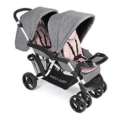 CHIC 4 BABY 273 67 Doppio - Carrito para hermanos, color rosa y gris