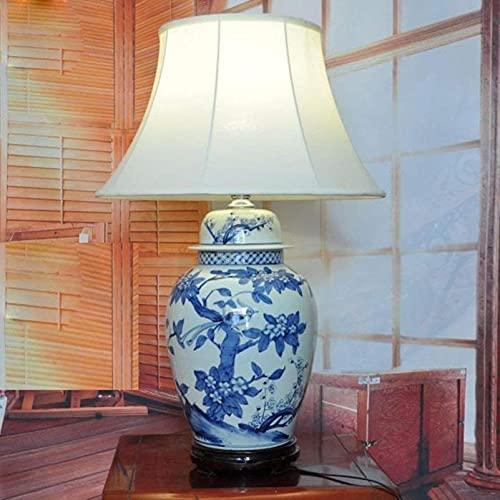KFJZGZZ Lámpara de mesa de cerámica de la vendimia de la lámpara de mesa del hotel chino Villa Hall, lámpara de mesa de noche E27